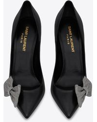 Saint Laurent Zoe pumps in smooth leather with chain bow - Nero