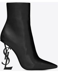 Saint Laurent Opyum Ankle Boots In Leather With Black Heel