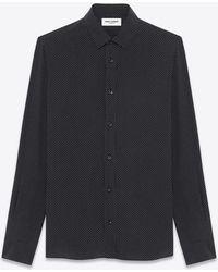 Saint Laurent - Signature Yves Collar Shirt In Black And White Micro Polka Dot Printed Silk - Lyst