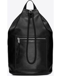 Saint Laurent City sailor sac à dos en cuir lisse - Noir