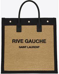Saint Laurent Rive gauche n/s sac cabas en cuir et raphia brodé - Neutre