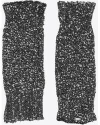 Saint Laurent Mitaines en maille lamée brodée de sequins - Noir