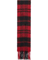 Saint Laurent Plaid scarf in a knit wool blend - Rosso