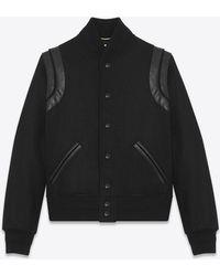 Saint Laurent Varsity Jacket In Wool And Black Leather