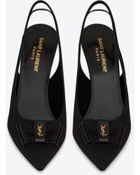Saint Laurent Anaïs Slingback Bow Court Shoes In Grosgrain Canvas And Patent Leather - Black