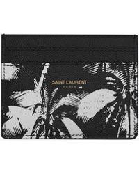 Saint Laurent Palm Tree Card Holder - Black