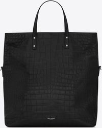 Saint Laurent Shopping bag ethan pieghevole in pelle opaca di coccodrillo goffrata - Nero