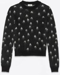 Saint Laurent Maglia nera jacquard in misto lana mohair con stelle bianche spazzolate. - Nero