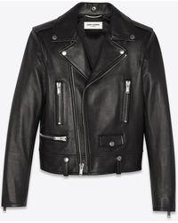 Saint Laurent Jacke im motorcycle-stil aus schwarzem leder