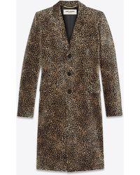 "Saint Laurent ""chesterfield"" coat with mini leopard print - Neutro"