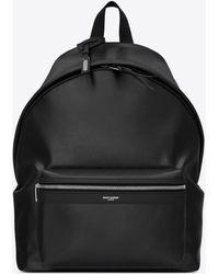 Saint Laurent Cit-e Backpack In Canvas With Jacquardtm By Google - Black