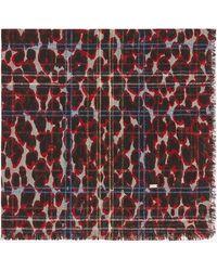 Saint Laurent Bandana a quadri con stampa leopardata lamé in jacquard di seta e lana - Multicolore