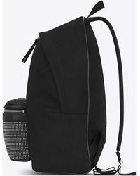 Saint Laurent - Studded City Backpack In Twill And Leather - Lyst