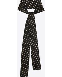 Saint Laurent - Narrow Scarf In Black Silk With Multicolor Lamé Polka Dots - Lyst