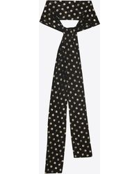 Saint Laurent - Narrow Scarf In Black Silk With Multicolor Lamé Polka Dots - Lyst