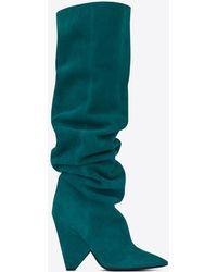 Saint Laurent | Niki 105 Thigh-high Boot In Petrol Blue Suede | Lyst