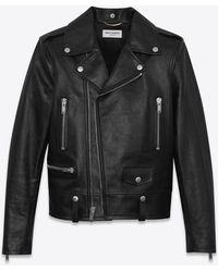 Saint Laurent Motorcycle Jacket In Shiny Vintage Leather - Black