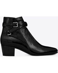 Saint Laurent - Signature Blake 40 Jodhpur Boot In Black Patent Leather - Lyst