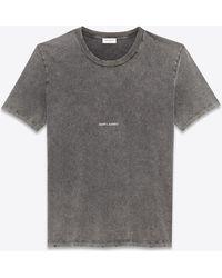 Saint Laurent T-shirt worn-look con riquadro nero sbiadito in jersey - Grigio