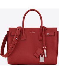 Saint Laurent - Baby Sac De Jour Souple Bag In Lipstick Red Grained Leather - Lyst