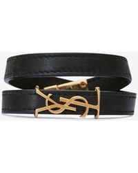 Saint Laurent Opyum Double Wrap Bracelet In Leather And Gold-toned Metal - Black