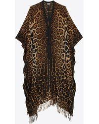 Saint Laurent Poncho à franges en toile de laine imprimé léopard - Neutre