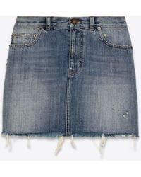 Saint Laurent Classic Raw-edge Mini Skirt In Sandy Fall Blue Denim
