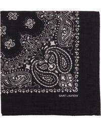 Saint Laurent Square Scarf In Wool Etamine With Ysl Bandana Print - Black