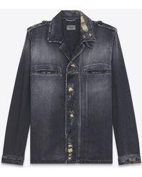 Saint Laurent - Military Shirt Jacket In Washed Black Denim - Lyst