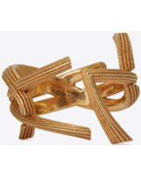 Saint Laurent Monogram Ring In Striated Brass - Metallic