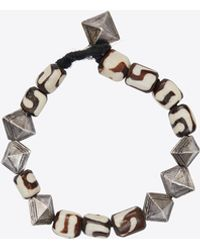 Saint Laurent Marrakech Seashell Bead Bracelet In Resin And Metal - Brown