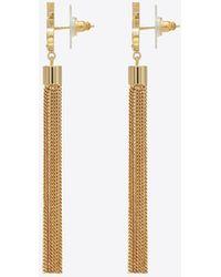 Saint Laurent - Mini Tassel Earrings In Gold Brass - Lyst