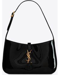Saint Laurent Le 5 À 7 Hobo Bag In Patent Leather - Black