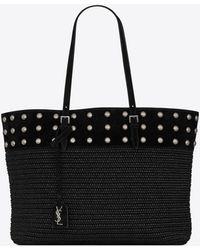 Saint Laurent Boucle shopping bag medium e/w clouté en raphia et en suède - Noir