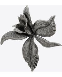 Saint Laurent Broche orchidée en métal - Multicolore