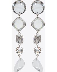 Saint Laurent Smoking Long Chain Earrings In Silver-toned Brass And White Crystals - Metallic