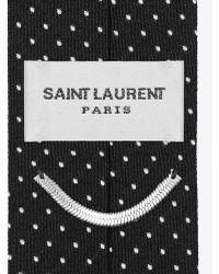Saint Laurent - Tie In Black And White Polka Dot Woven Silk Jacquard - Lyst