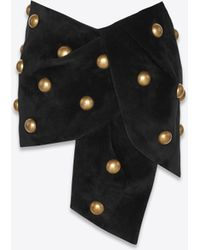 Saint Laurent - Studded Mini Skirt In Black Suede - Lyst