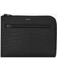 Saint Laurent - Paris Multi-zip Tablet Holder In Black Crocodile Embossed Leather - Lyst
