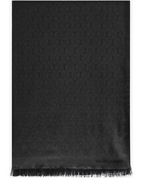 Saint Laurent Signature Fringed Scarf In Silk And Wool Jacquard - Black