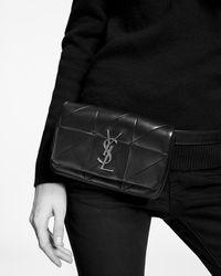 "Saint Laurent JAMIE ""CARRE RIVE GAUCHE"" belt bag in a patchwork of lambskin - Nero"