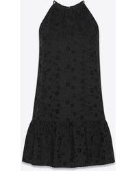 Saint Laurent Ruffled Dress In Eyelet Embroidery - Black
