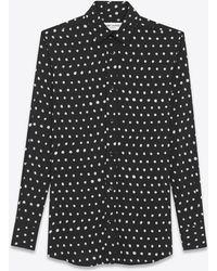 Saint Laurent - Paris Collar Shirt In Black And White Lipstick Printed Twill Viscose - Lyst