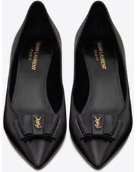 Saint Laurent Anaïs Bow Court Shoes In Smooth Leather - Black
