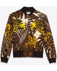 Saint Laurent Teddy in twill trapuntato stampa leopardo notturno - Marrone