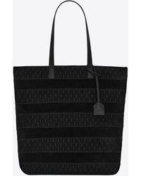 Saint Laurent Le monogramme shopper aus patchwork-ysl-wildleder - Schwarz