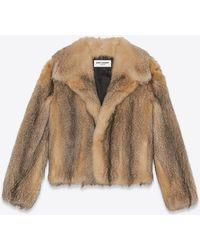 Saint Laurent Cappotto corto in pelliccia di volpe - Multicolore