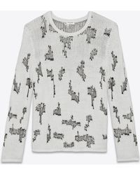 Saint Laurent - Sweater With Resewn Motifs In Black And White Cashmere - Lyst