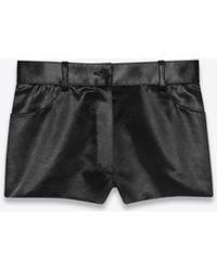 Saint Laurent Mini-shorts aus satin - Schwarz