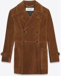 Saint Laurent Langer zweireihiger mantel aus vintage-wildleder - Braun